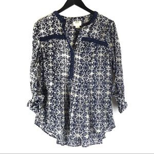 Anthropologie Maeve Floral Tunic Blouse Top